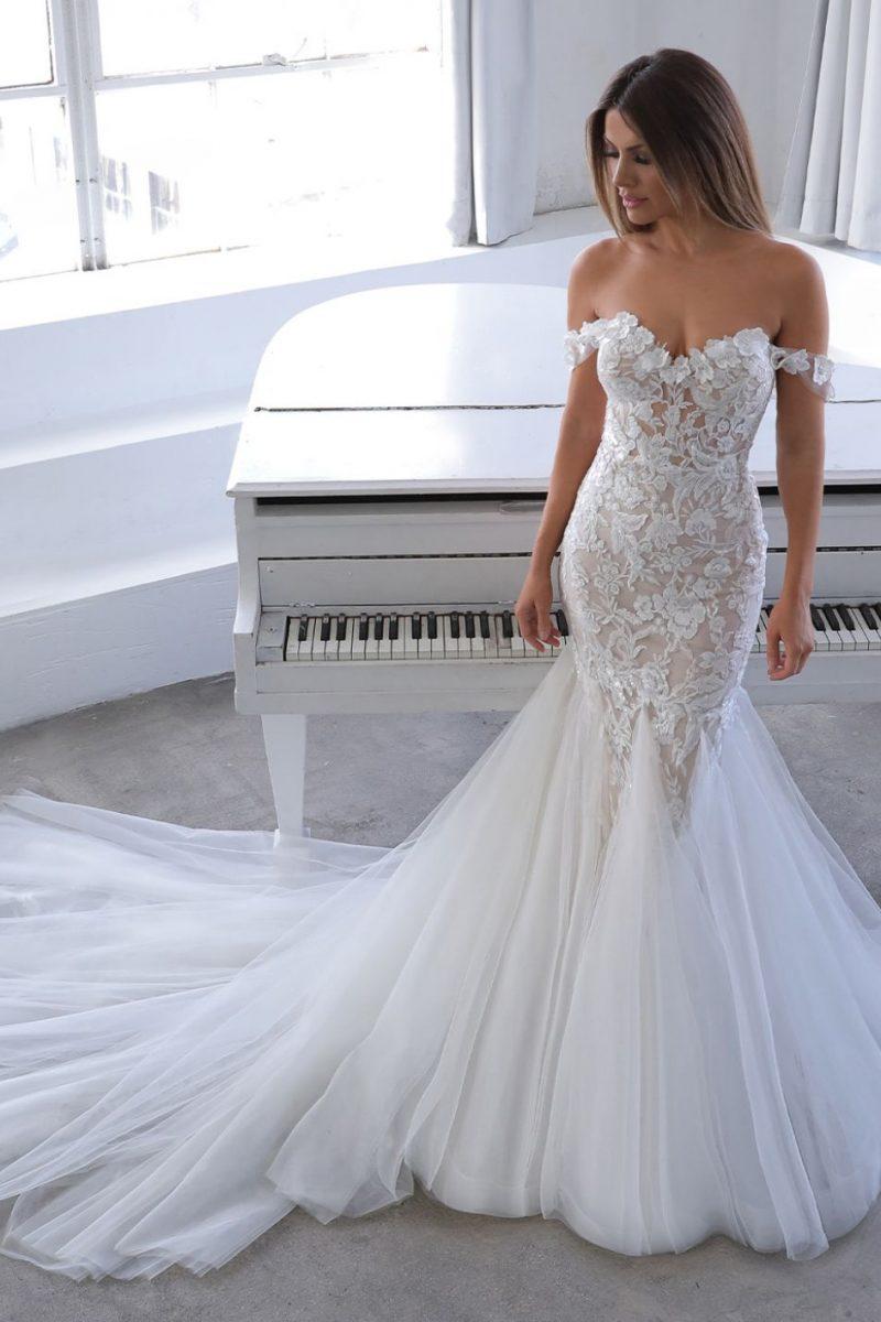 Narine Blue by Enzoani available at Emily bridalwear sheffield