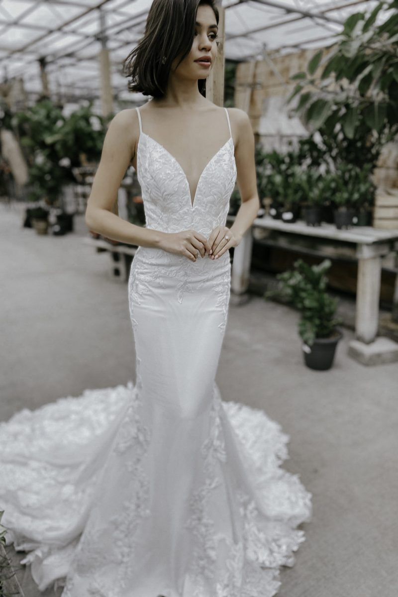 Frannie, style number, D3263 A modern Essense of Australia wedding dress available at Emily Bridalwear in Sheffield, South Yorkshire.