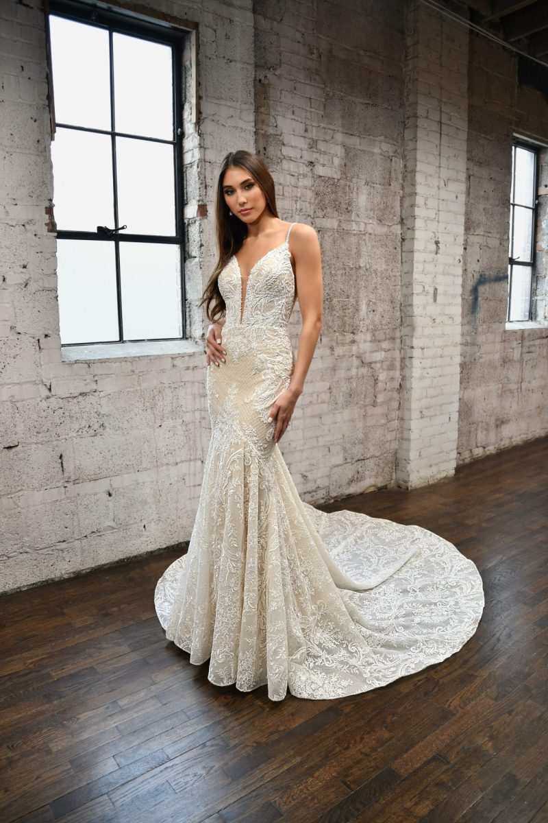 The stunning Martina Liana style 1348 Mallory wedding dress is available from Emily Bridalwear in Sheffield, South Yorkshire.