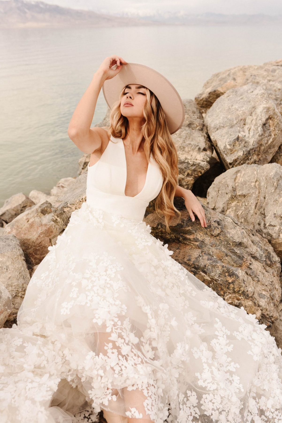 The stunning Martina Liana McAllen 1376 crepe and lace wedding dress is available from Emily Bridalwear in Sheffield, South Yorkshire.