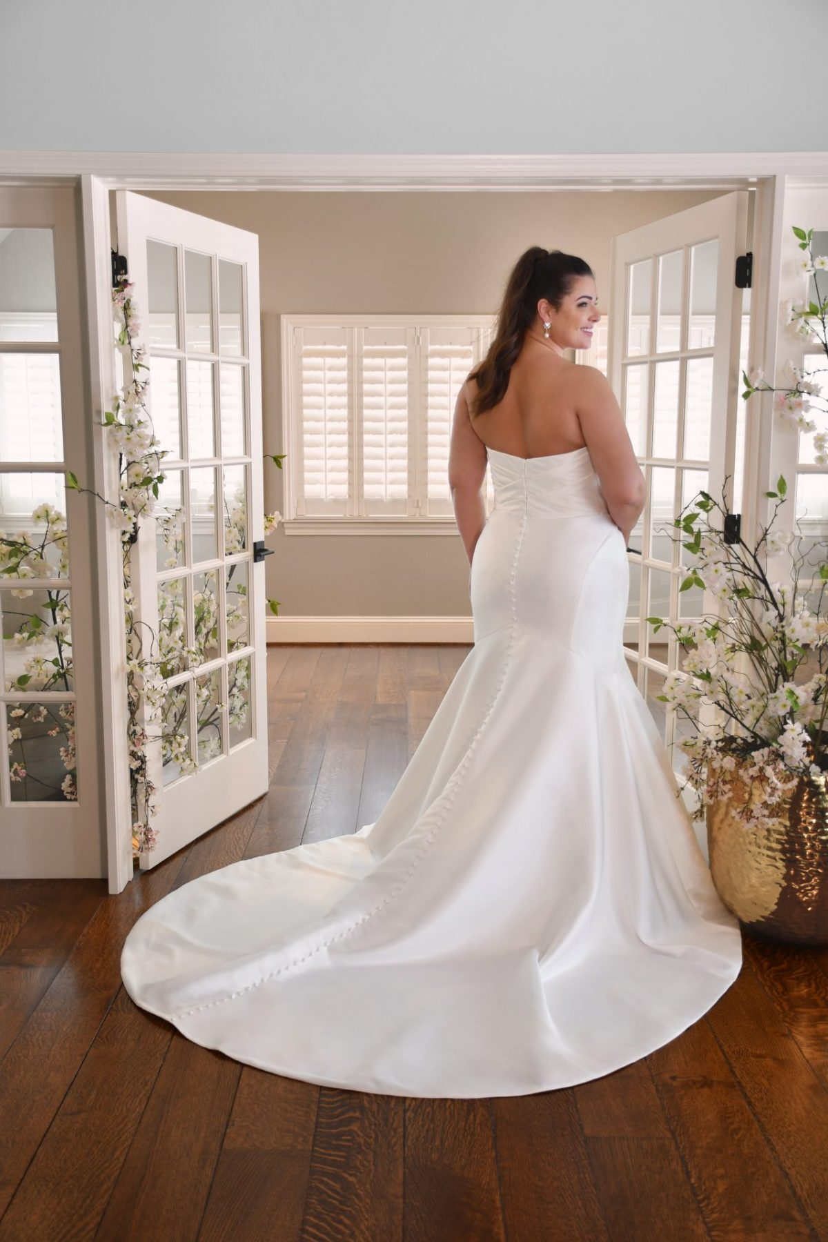 The stunning Essense of Australia D3340 Franscisco wedding dress is available from Emily Bridalwear in Sheffield, South Yorkshire.