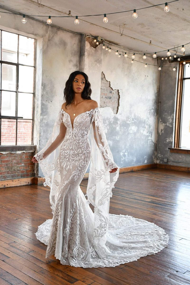 The stunning All Who wander Kenzo wedding dress is available from Emily Bridalwear in Sheffield, South Yorkshire.