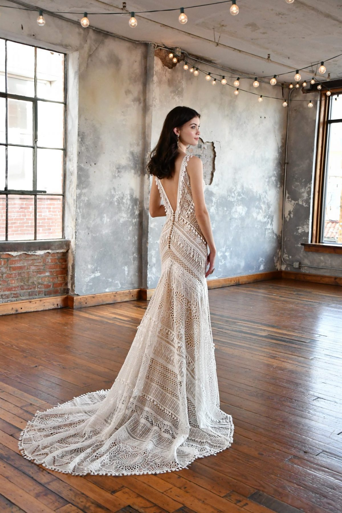 The stunning All Who wander Micah wedding dress is available from Emily Bridalwear in Sheffield, South Yorkshire.