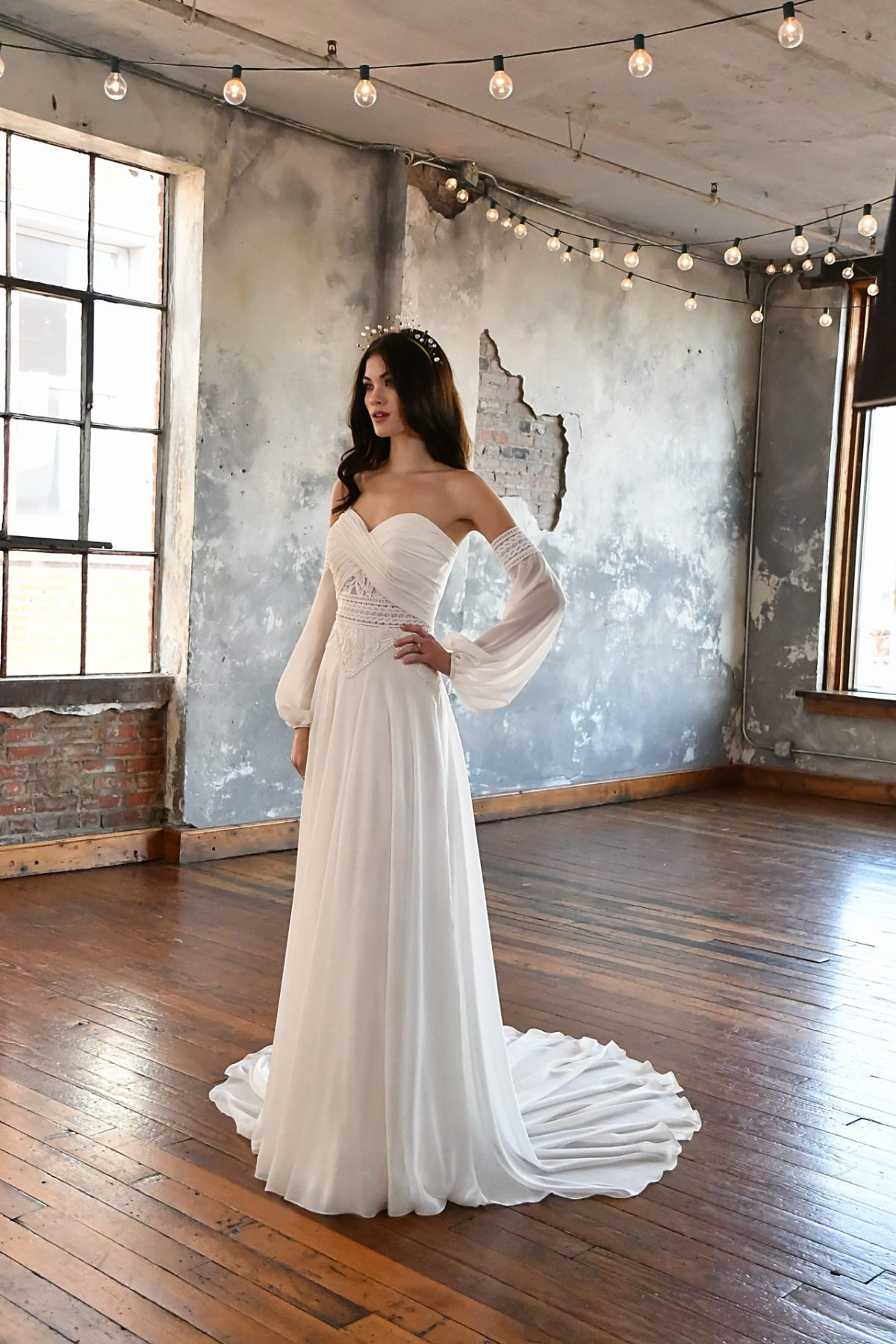 The stunning All who wander Remi wedding dress is available from Emily Bridalwear in Sheffield, South Yorkshire.