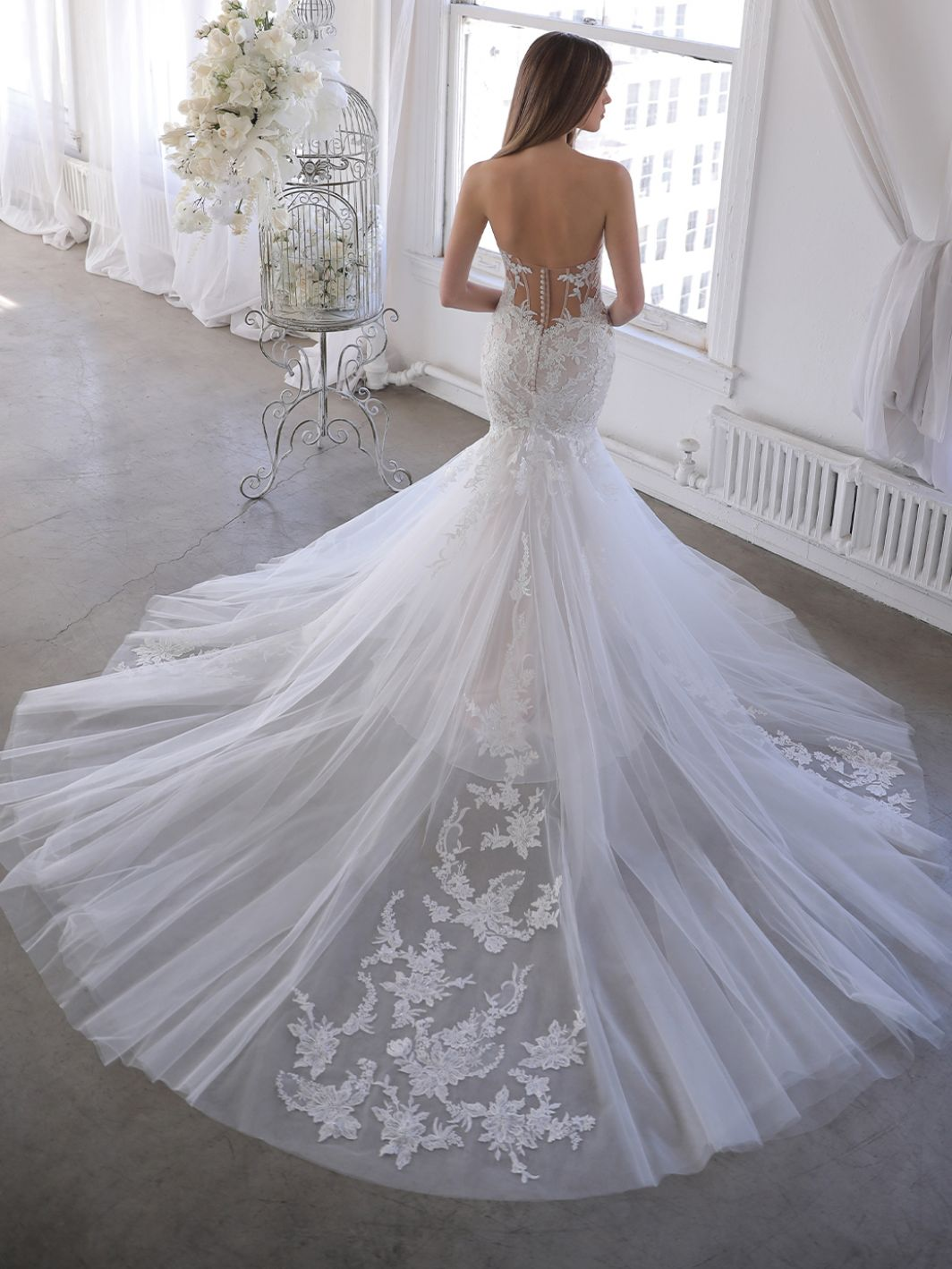 Blue by Enzoani Orchid Wedding Dresses, from the 2022 collection, available at Emily Bridalwear, Sheffield.